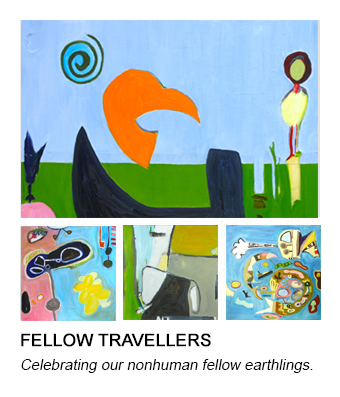 graphic of Barb's Traveller painting that links to her Fellow Travellers series